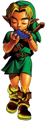 Official art - Young Link playing the Ocarina of Time