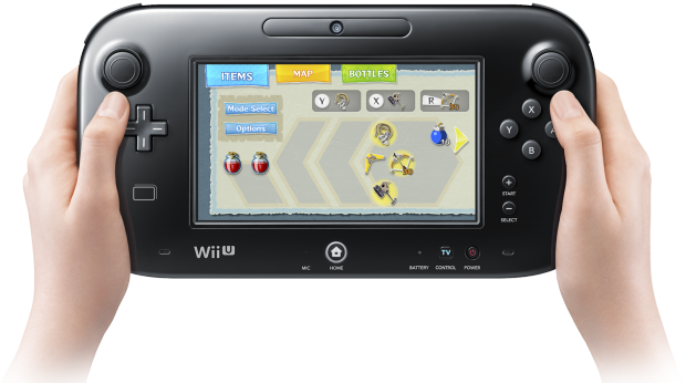 Aspecto do menu de The Wind Waker HD no Wii U GamePad