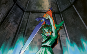Artwork oficial de Link puxando a Master Sword do pedestal