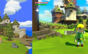 Comparaão entre Windfall Island no The Wind Waker original e na versão HD