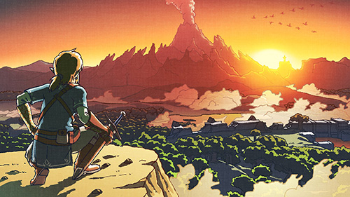 Arte oficial de Breath of the Wild imitando uma antiga arte oficial do primeiro The Legend of Zelda
